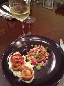 Scallops Wrapped in Bacon, Mashed Potatoes & Succotash